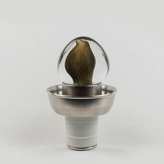"""Klass"" with stainless steel base and blown glass"